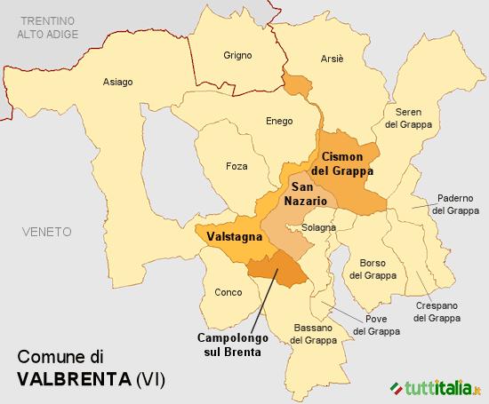 Cartina del Comune di Valbrenta