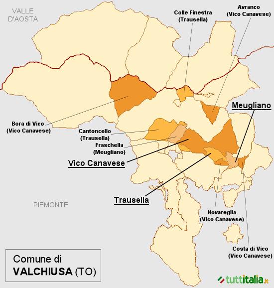 Cartina del Comune di Valchiusa