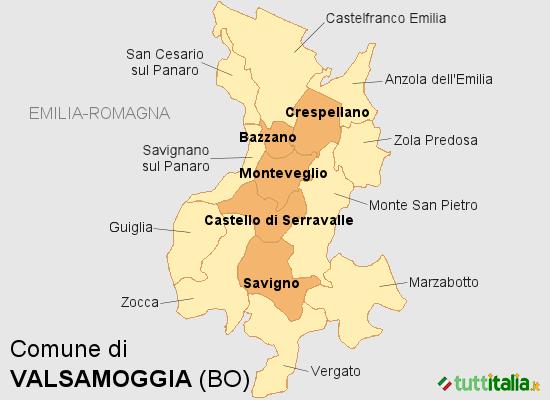 Cartina del Comune di Valsamoggia