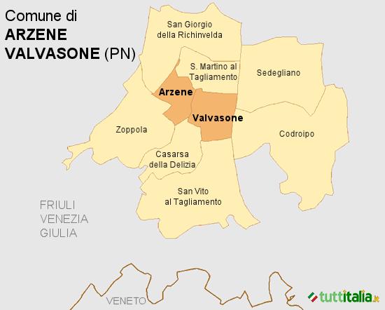 Cartina del Comune di Valvasone Arzene