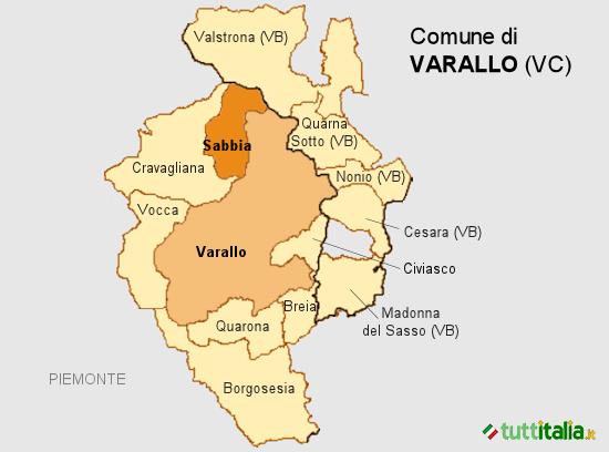Cartina del Comune di Varallo