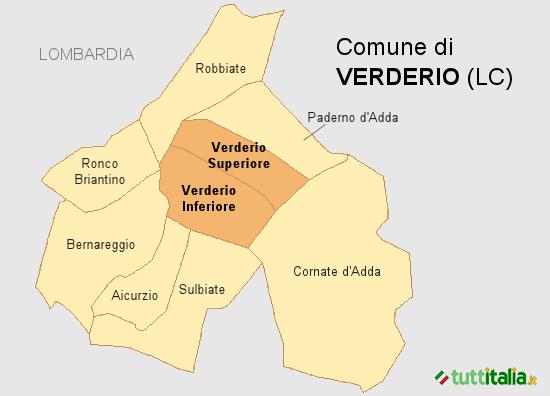 Cartina del Comune di Verderio