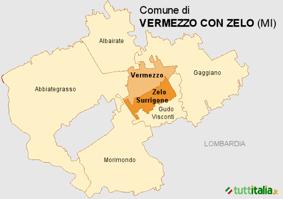 Cartina del Comune di Vermezzo con Zelo
