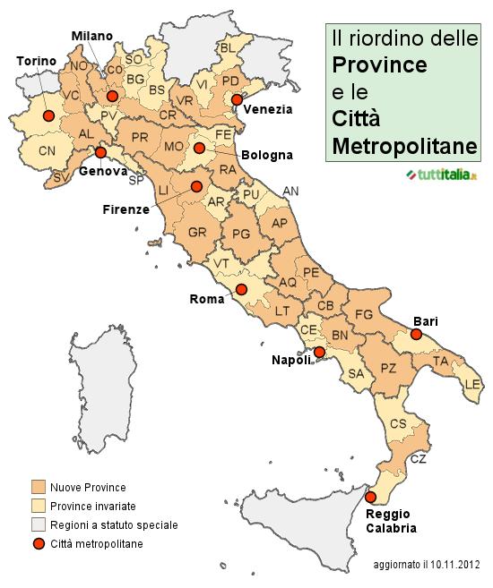 Cartina Italia Regioni Provincie.Mappa Nuove Province E Citta Metropolitane
