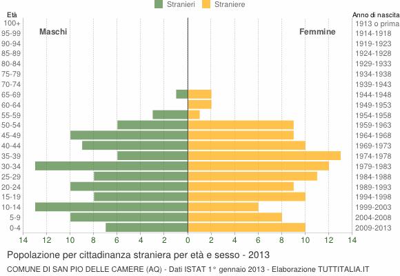 Grafico cittadini stranieri - San Pio delle Camere 2013