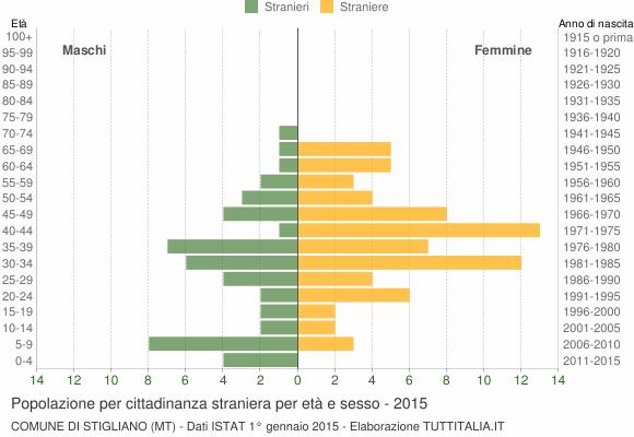 Grafico cittadini stranieri - Stigliano 2015