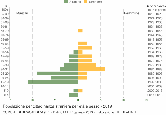 Grafico cittadini stranieri - Ripacandida 2019