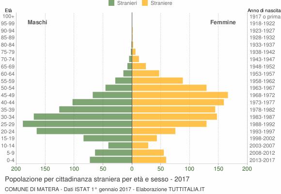 Grafico cittadini stranieri - Matera 2017