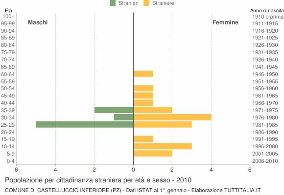 Grafico cittadini stranieri - Castelluccio Inferiore 2010