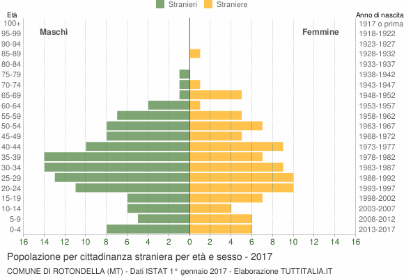 Grafico cittadini stranieri - Rotondella 2017