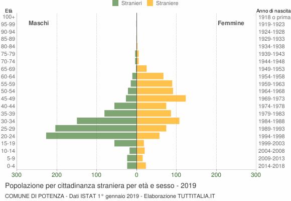 Grafico cittadini stranieri - Potenza 2019