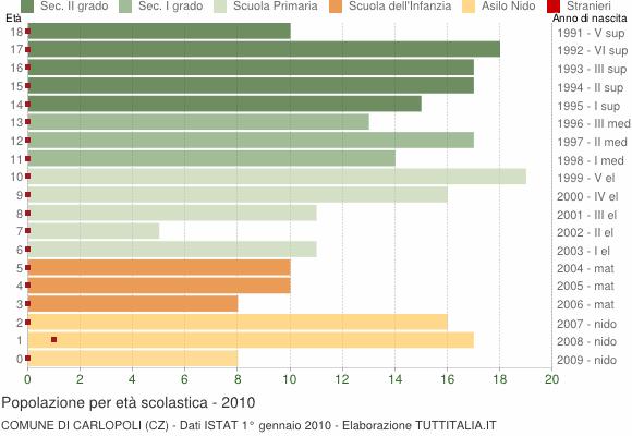 Grafico Popolazione in età scolastica - Carlopoli 2010