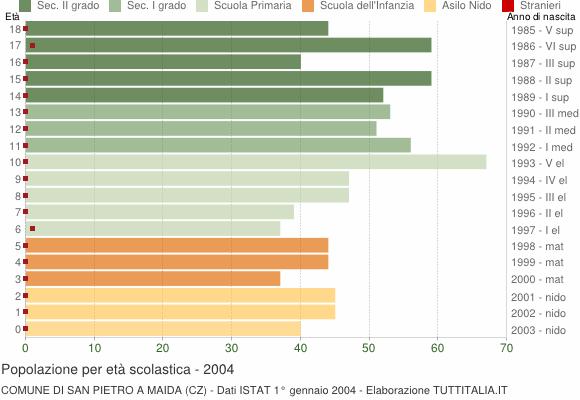 Grafico Popolazione in età scolastica - San Pietro a Maida 2004