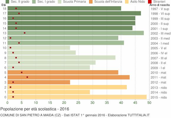 Grafico Popolazione in età scolastica - San Pietro a Maida 2016