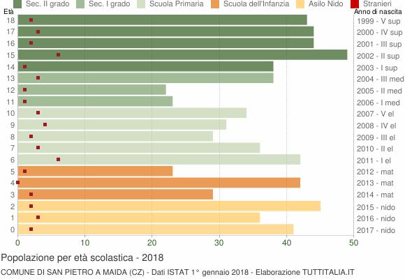 Grafico Popolazione in età scolastica - San Pietro a Maida 2018