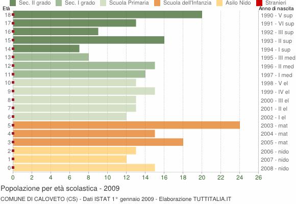 Grafico Popolazione in età scolastica - Caloveto 2009