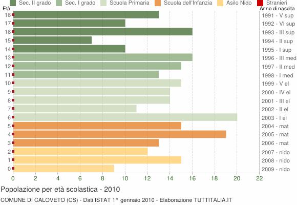 Grafico Popolazione in età scolastica - Caloveto 2010
