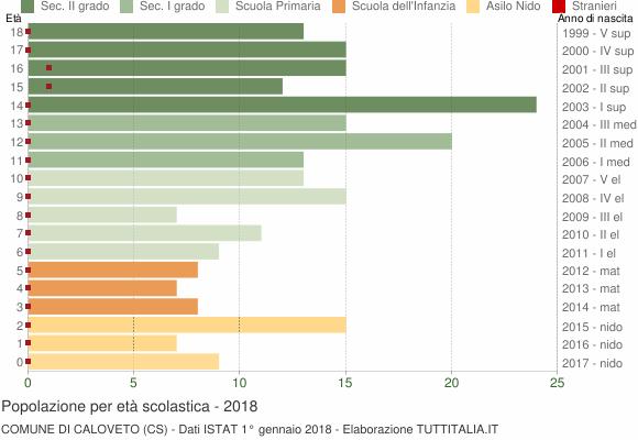 Grafico Popolazione in età scolastica - Caloveto 2018