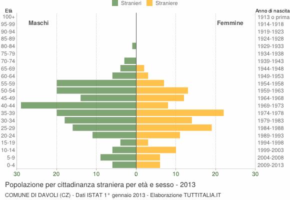 Grafico cittadini stranieri - Davoli 2013