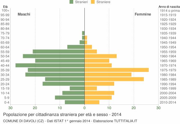 Grafico cittadini stranieri - Davoli 2014