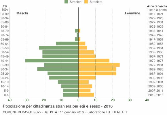 Grafico cittadini stranieri - Davoli 2016