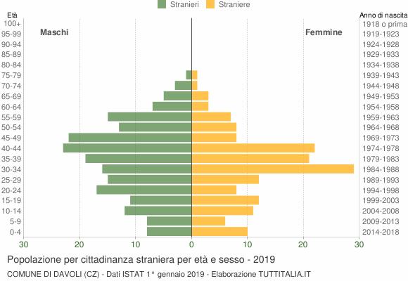 Grafico cittadini stranieri - Davoli 2019