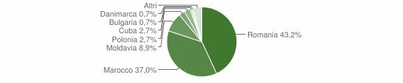 Grafico cittadinanza stranieri - Tiriolo 2019