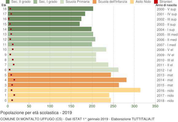 Grafico Popolazione in età scolastica - Montalto Uffugo 2019