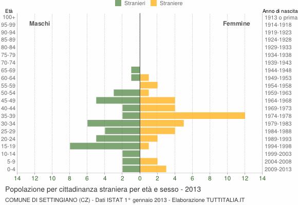 Grafico cittadini stranieri - Settingiano 2013