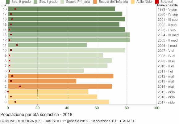 Grafico Popolazione in età scolastica - Borgia 2018