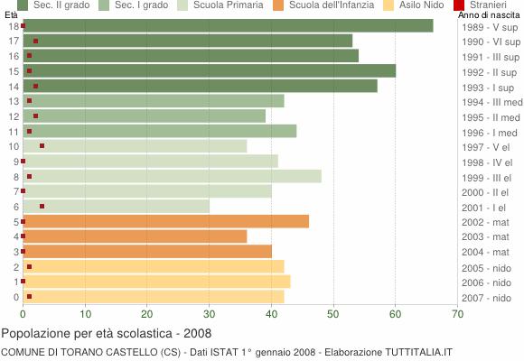 Grafico Popolazione in età scolastica - Torano Castello 2008