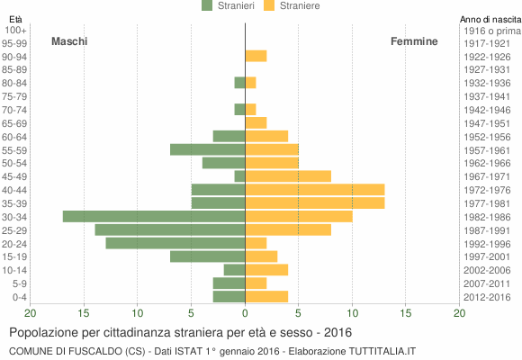 Grafico cittadini stranieri - Fuscaldo 2016