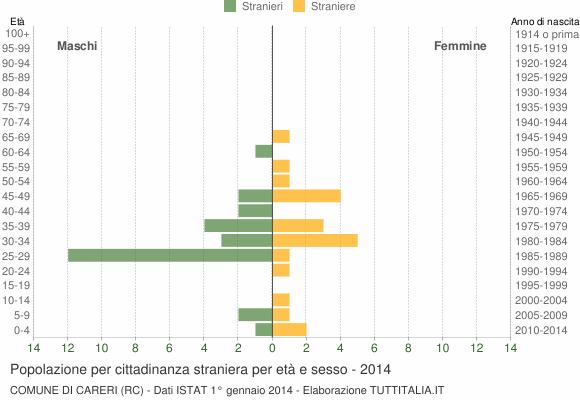 Grafico cittadini stranieri - Careri 2014