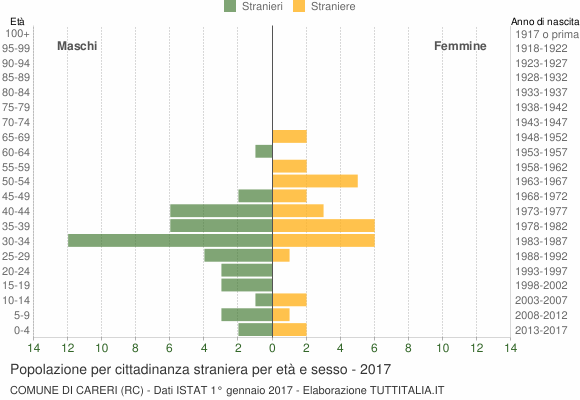 Grafico cittadini stranieri - Careri 2017