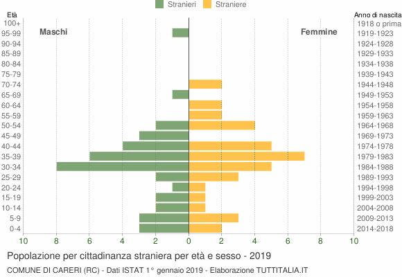 Grafico cittadini stranieri - Careri 2019