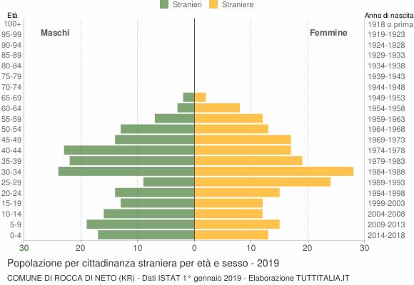 Grafico cittadini stranieri - Rocca di Neto 2019