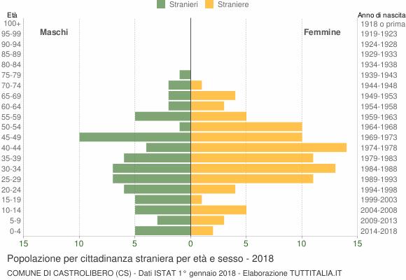 Grafico cittadini stranieri - Castrolibero 2018