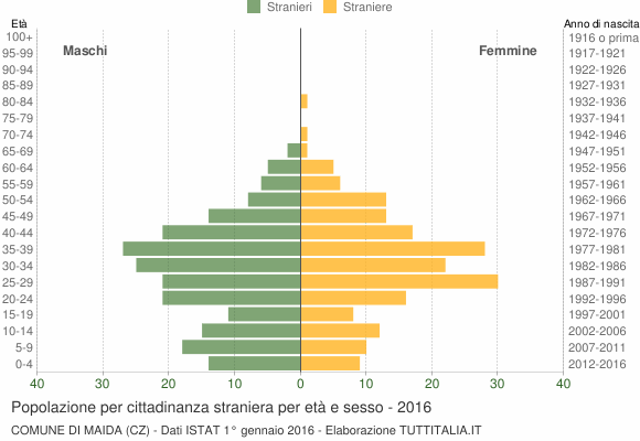 Grafico cittadini stranieri - Maida 2016