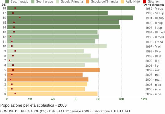 Grafico Popolazione in età scolastica - Trebisacce 2008