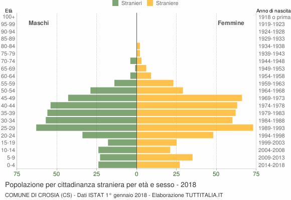 Grafico cittadini stranieri - Crosia 2018