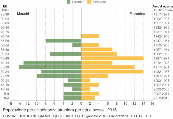 Grafico cittadini stranieri - Morano Calabro 2016