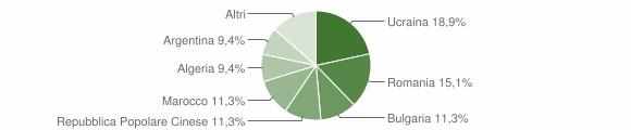 Grafico cittadinanza stranieri - San Calogero 2007