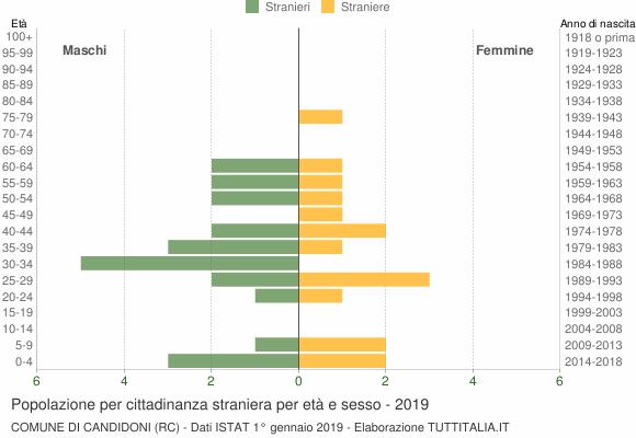 Grafico cittadini stranieri - Candidoni 2019
