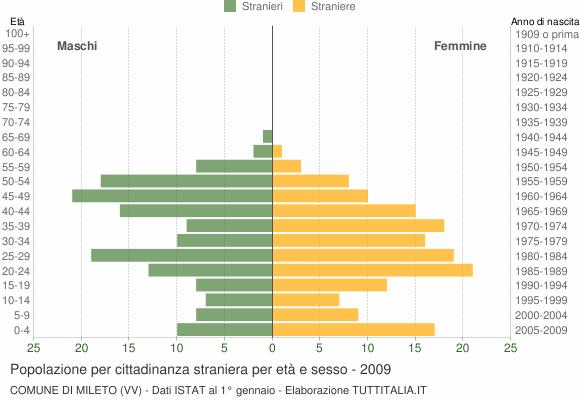 Grafico cittadini stranieri - Mileto 2009