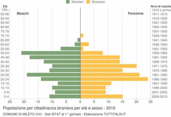 Grafico cittadini stranieri - Mileto 2010