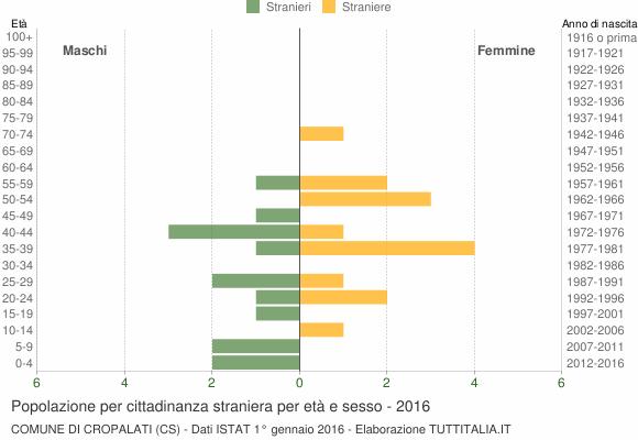 Grafico cittadini stranieri - Cropalati 2016