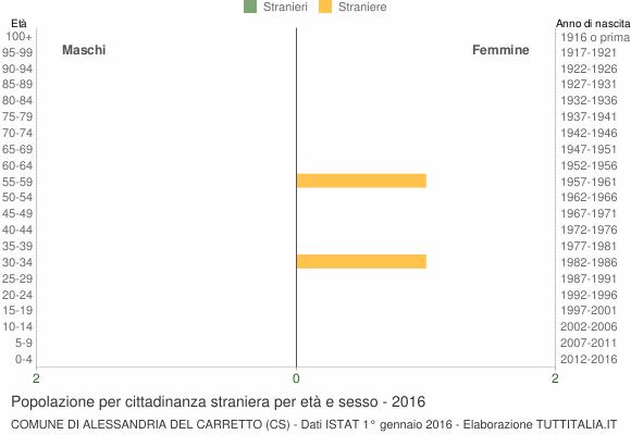 Grafico cittadini stranieri - Alessandria del Carretto 2016