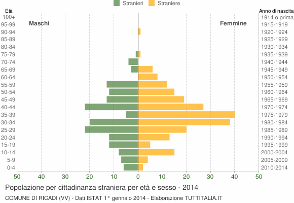 Grafico cittadini stranieri - Ricadi 2014