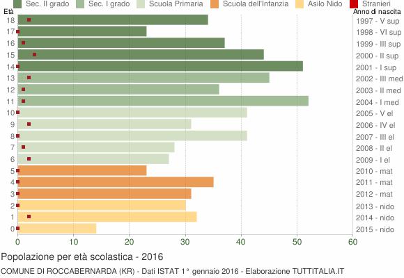 Grafico Popolazione in età scolastica - Roccabernarda 2016