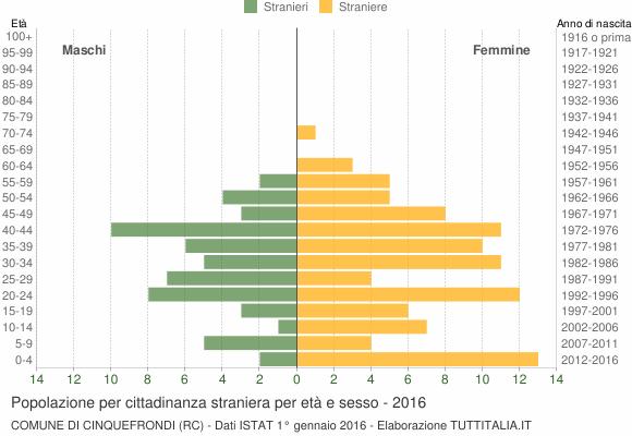 Grafico cittadini stranieri - Cinquefrondi 2016